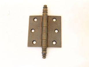 Scharnier brons antiek 62x62mm met sierkop voor buiten (massief)