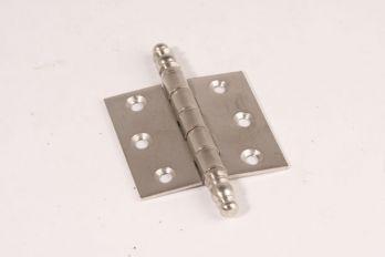 Scharnier geborsteld nikkel 62x63mm met sierknop