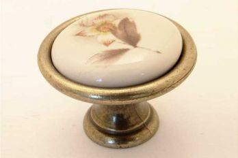 Knop wit porselein 34mm met bruine bloem en brons antiek