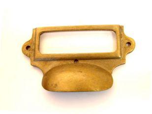 Greep met etikettenhouder brons antiek 93mm