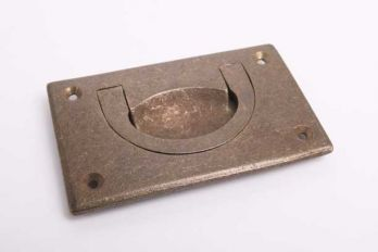 Infreesgreep meubeltrekker brons antiek massief messing 90x55mm