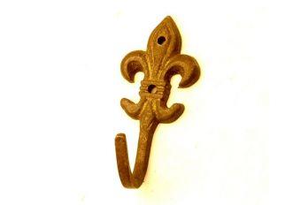 Kapstokhaak gemaakt van massief messing in de kleur brons antiek met een hoogte van 55 mm in de vorm van een Franse lelie.