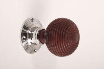 Deurknop (paar) 60mm blinkend chroom met rozenhout incl rozetten