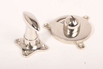 WC sluiting vrij bezet zwart wit - blinkend nikkel puntknop 45mm