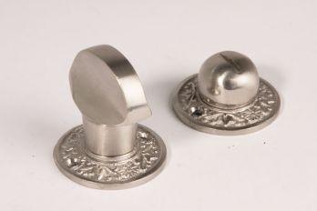 WC sluiting geborsteld nikkel platte knop met klassieke rozetten