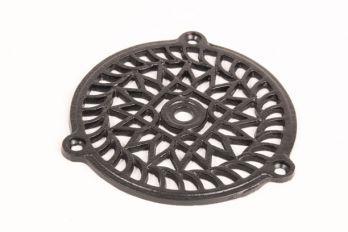 Luchtrooster van gietijzer in zwart rond 110mm