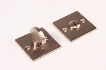 WC sluiting Geborsteld nikkel vierkant 50mm met half ronde knop