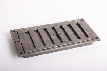 Afsluitbaar rooster rechthoekig gietijzer antiek grijs 213 x 104mm