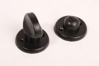 WC- en badkamersluiting zwart gietijzer platte knop met ronde rozetten