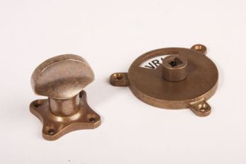WC sluiting brons antiek platte knop + rozet 813 zwart/wit