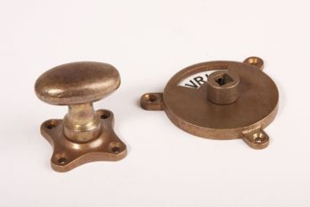WC sluiting brons antiek kleine ovale knop + rozet 813 zwart/wit