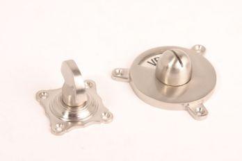 WC sluiting geborsteld nikkel half ronde knop+rozet159 zwart/wit