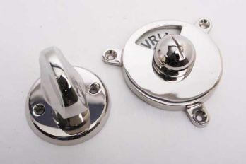 WC en badkamer sluiting vrij-bezet blinkend nikkel met platte draaiknop