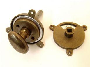 WC sluiting brons antiek kleine ovale knop