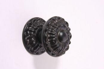 Deurknop zwart poedercoating op massief messing 71mm