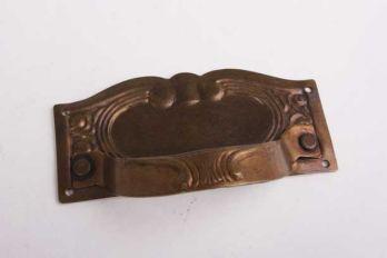 Dunne greep voor lades messing in brons antiek 87mm