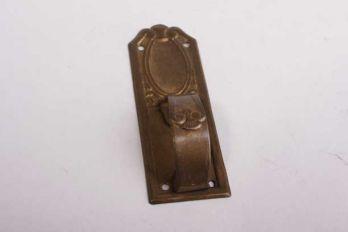 Meubelgreep klassiek dun messing verticaal brons antiek 25mm