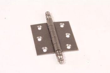 Scharnier metaal grijs (tinkleur) 63x63mm met sierknop