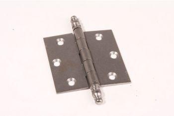 Scharnier metaal grijs (tinkleur) 76x76mm met sierknop