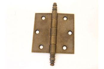Scharnier brons antiek 75x76mm met sierkop voor buiten (massief)