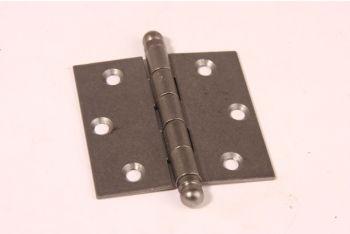 Scharnier metaal grijs (tinkleur) 76x76mm  met bolkop