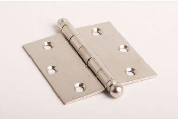 Scharnier  voor binnendeuren met bolkop in de kleur nikkel met een blad van 76mm hoog en totaal 75mm breed.