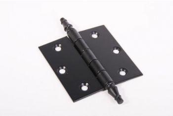 """Scharnier  voor binnendeuren met """"vaaskop"""" in de kleur zwart met een blad van 75mm hoog en totaal 76mm breed."""