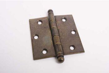 Scharnier brons antiek voor binnendeuren 89mm met bolkop