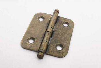 Meubelscharniertje brons antiek van ijzer met ronde hoeken 40mm x 35mm