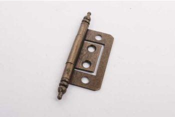 Klassiek scharniertje voor inliggende deurtjes brons antiek met sierkop 38mm