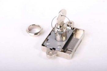 Opdekslot nikkel 25mm met cilinder voor meubelen met 2 sleutels en rozet links