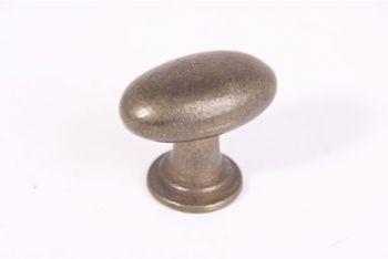 Ovale knop brons antiek met voetje 41mm
