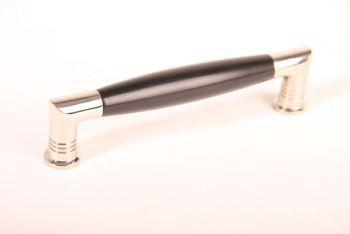 Greep tonmodel met ribbel 128mm blinkend nikkel/zwart ebbenhout