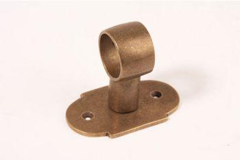 Steun voor buis 25mm brons antiek Horizontaal