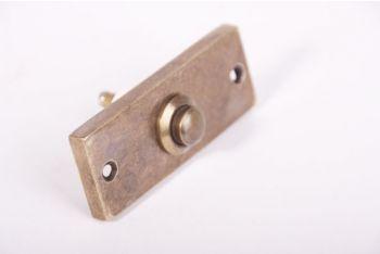 Beldrukker voor deurbel brons antiek 25x75mm rechthoekig