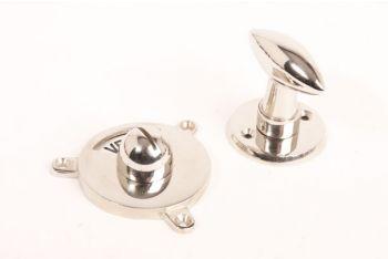 WC sluiting vrij bezet zwart wit - blinkend nikkel puntknop