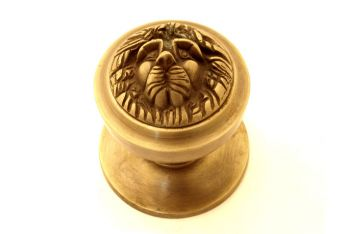 Deurknop leeuwenkop brons antiek