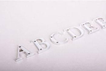 Letters blinkend chroom A-Z, &, @, - 50mm