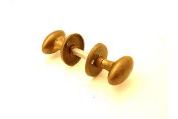 Deurkruk/deurknop (paar) Brons antiek met deurrozet