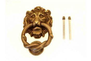 Deurklopper leeuwenkop brons antiek 150mm