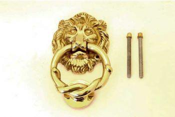 Deurklopper gepolijst messing leeuwenkop 150mm