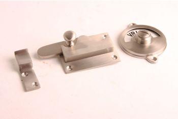 WC sluiting vrij-bezet Geborsteld nikkel - haak/recht