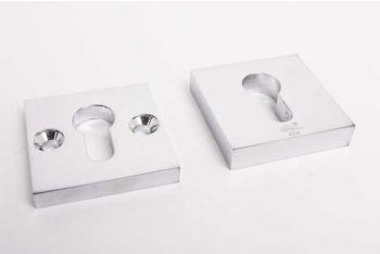 Veiligheid cilinder rozet voor profiel cilinder SKG*** blinkend chroom vierkant