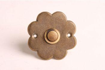 Deurbel-beldrukker bloem brons antiek 60mm