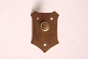 Deurbel-beldrukker schild brons antiek 55mm