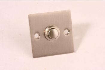 Beldrukker vierkant geborsteld nikkel 50mm Bauhaus