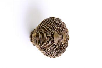 Geweven knop brons antiek fijne draad 44mm