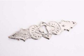 Klassieke sleutelplaat nikkel voor lades dun messing 35 mm dwars